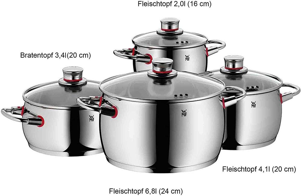 Bộ Nồi Nấu Ăn WMF Quality One - 4 Món với thiết kế sang trọng, kích thước đa dạng giúp việc nấu ăn trở nên dễ dàng hơn bao giờ hết