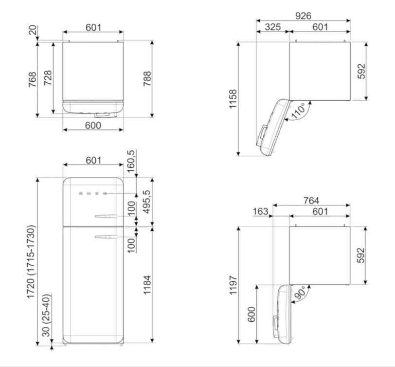Kích thước của Tủ Lạnh 222L Smeg FAB30LPG3